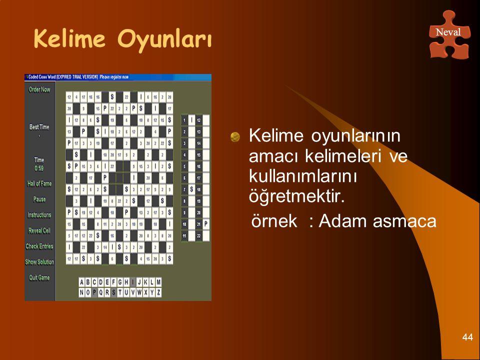 44 Kelime oyunlarının amacı kelimeleri ve kullanımlarını öğretmektir. örnek : Adam asmaca Kelime Oyunları Neval