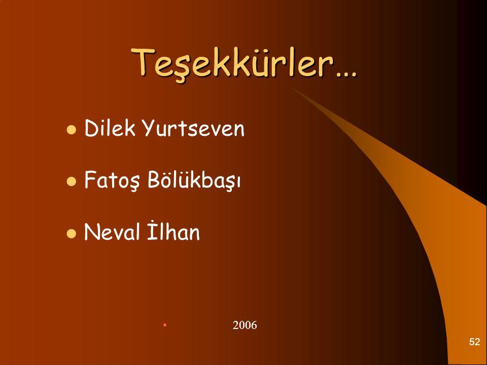 52 Teşekkürler… Teşekkürler… Dilek Yurtseven Fatoş Bölükbaşı Neval İlhan 2006