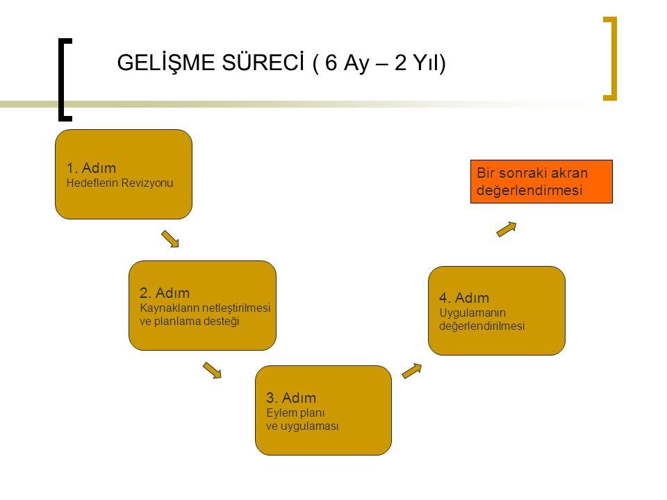GELİŞME SÜRECİ ( 6 Ay – 2 Yıl) 1. Adım Hedeflerin Revizyonu Bir sonraki akran değerlendirmesi 2. Adım Kaynakların netleştirilmesi ve planlama desteği