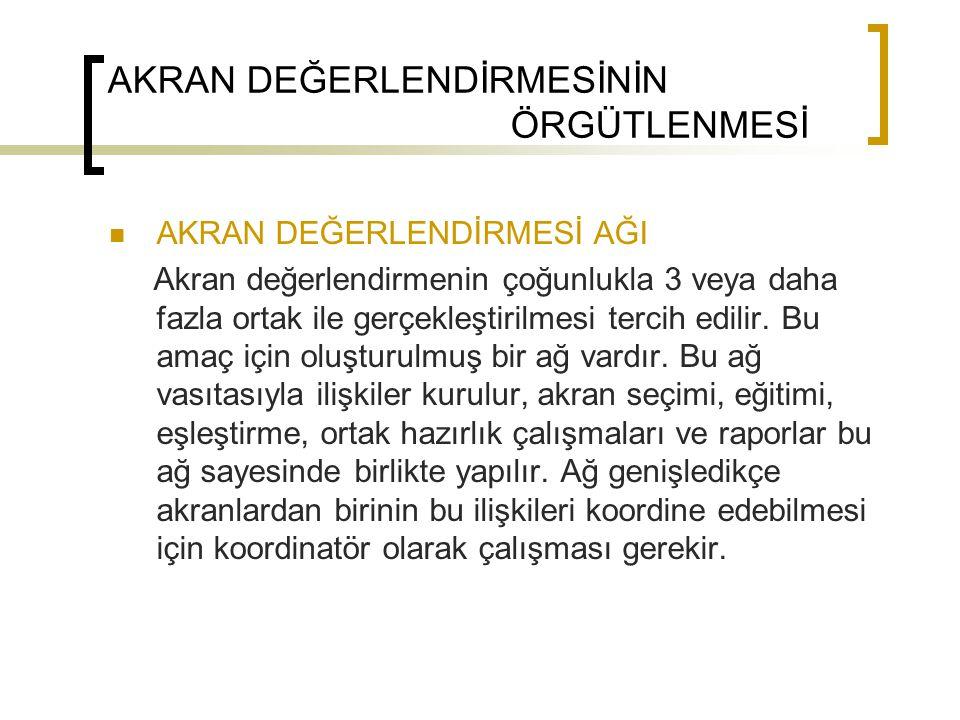 AKRAN DEĞERLENDİRMESİ AŞAMALARI 1.