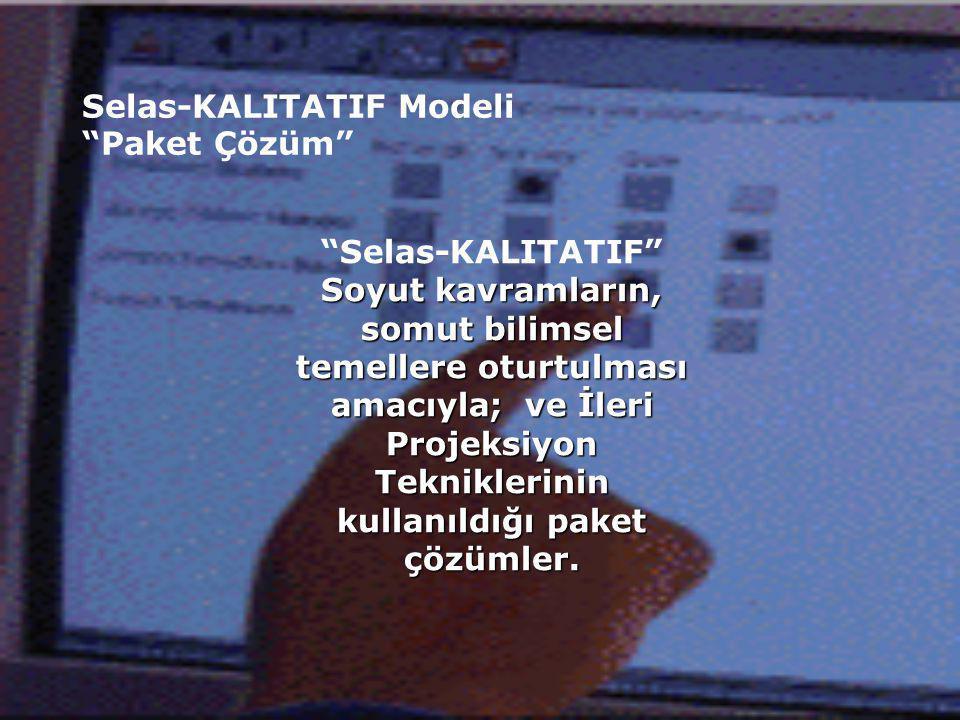 Selas-KALITATIF Modeli Paket Çözüm Selas-KALITATIF Soyut kavramların, somut bilimsel temellere oturtulması amacıyla; ve İleri Projeksiyon Tekniklerinin kullanıldığı paket çözümler.