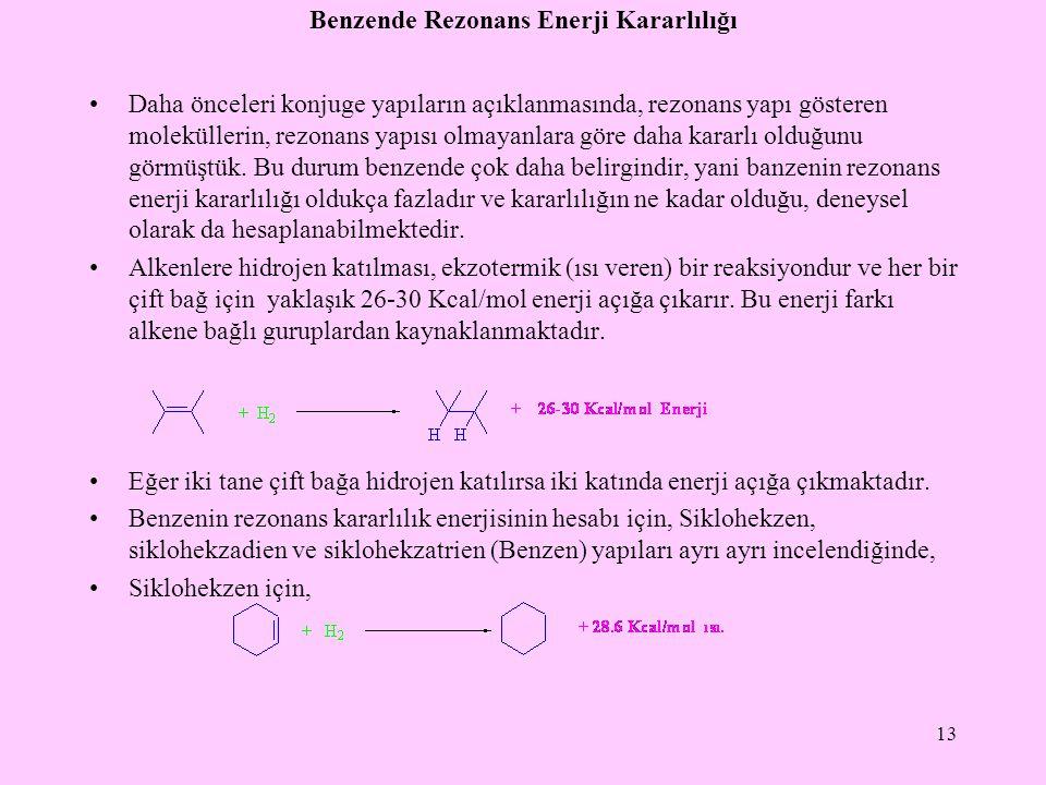 Benzende Rezonans Enerji Kararlılığı Daha önceleri konjuge yapıların açıklanmasında, rezonans yapı gösteren moleküllerin, rezonans yapısı olmayanlara göre daha kararlı olduğunu görmüştük.
