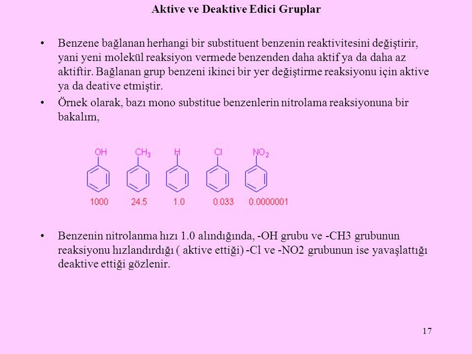 Aktive ve Deaktive Edici Gruplar Benzene bağlanan herhangi bir substituent benzenin reaktivitesini değiştirir, yani yeni molekül reaksiyon vermede benzenden daha aktif ya da daha az aktiftir.