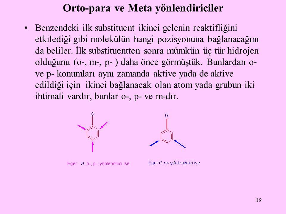 Orto-para ve Meta yönlendiriciler Benzendeki ilk substituent ikinci gelenin reaktifliğini etkilediği gibi molekülün hangi pozisyonuna bağlanacağını da beliler.