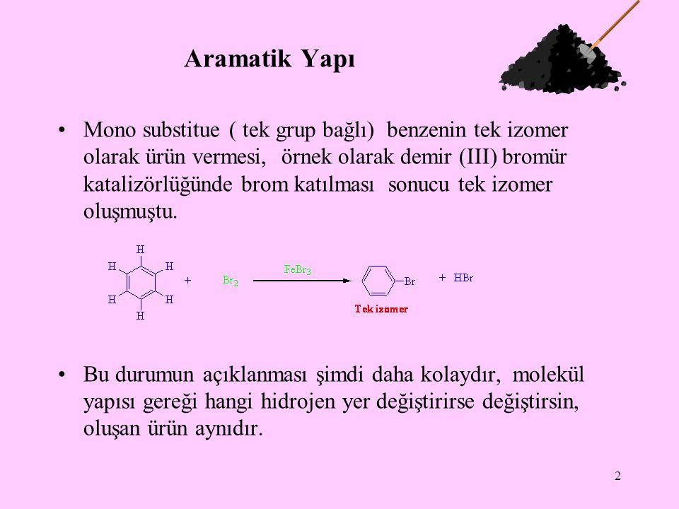 2 Aramatik Yapı Mono substitue ( tek grup bağlı) benzenin tek izomer olarak ürün vermesi, örnek olarak demir (III) bromür katalizörlüğünde brom katılması sonucu tek izomer oluşmuştu.