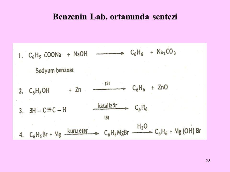 Benzenin Lab. ortamında sentezi 28