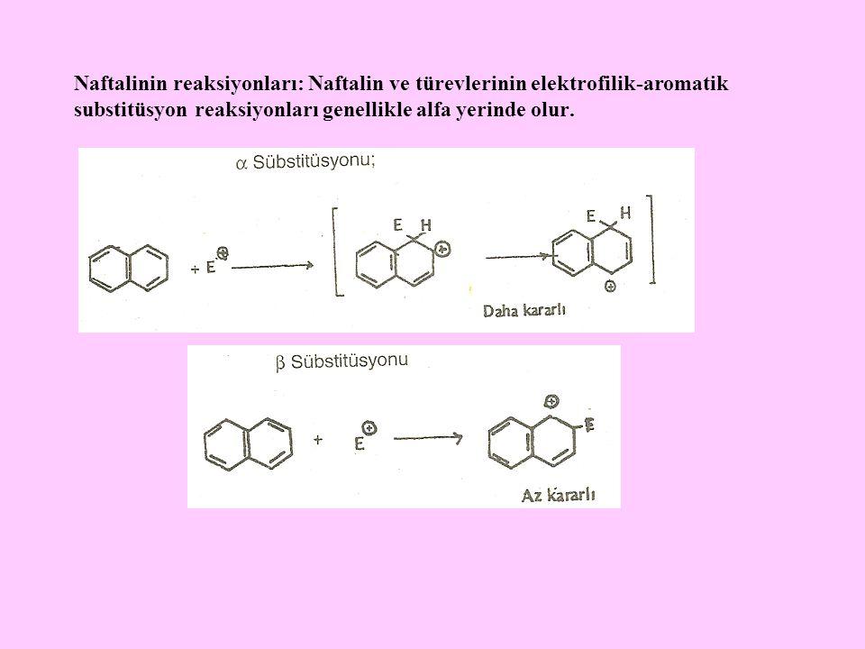 Naftalinin reaksiyonları: Naftalin ve türevlerinin elektrofilik-aromatik substitüsyon reaksiyonları genellikle alfa yerinde olur.