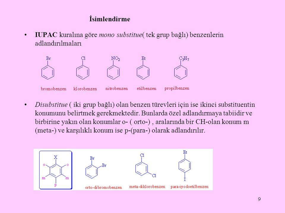 İsimlendirme IUPAC kuralına göre mono substitue( tek grup bağlı) benzenlerin adlandırılmaları Disubstitue ( iki grup bağlı) olan benzen türevleri için ise ikinci substituentin konumunu belirtmek gerekmektedir.