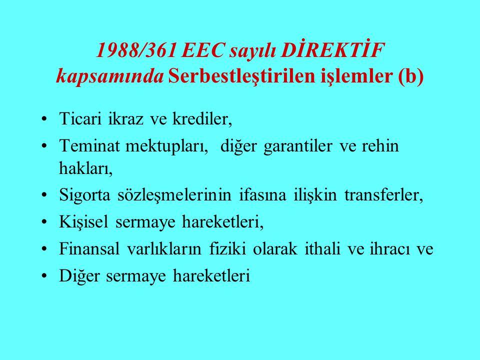 1988/361 EEC sayılı DİREKTİF kapsamında Serbestleştirilen işlemler (b) Ticari ikraz ve krediler, Teminat mektupları, diğer garantiler ve rehin hakları