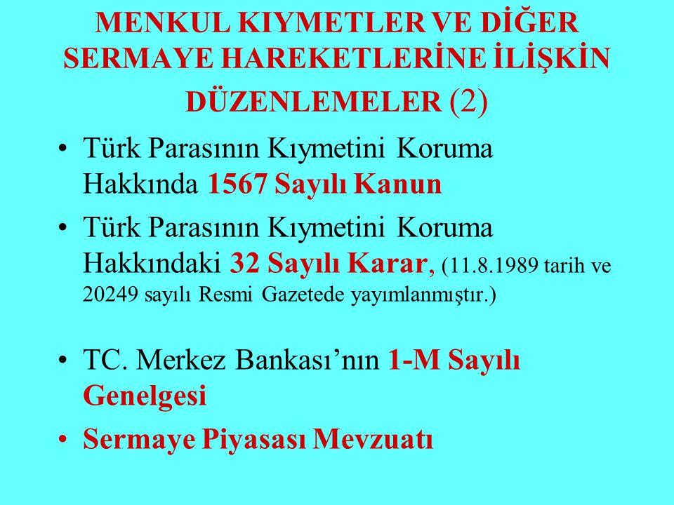 MENKUL KIYMETLER VE DİĞER SERMAYE HAREKETLERİNE İLİŞKİN DÜZENLEMELER (2) Türk Parasının Kıymetini Koruma Hakkında 1567 Sayılı Kanun Türk Parasının Kıy