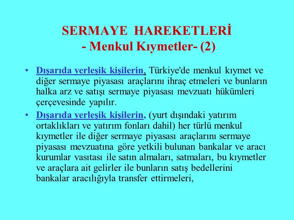SERMAYE HAREKETLERİ - Menkul Kıymetler- (2) Dışarıda yerleşik kişilerin, Türkiye'de menkul kıymet ve diğer sermaye piyasası araçlarını ihraç etmeleri
