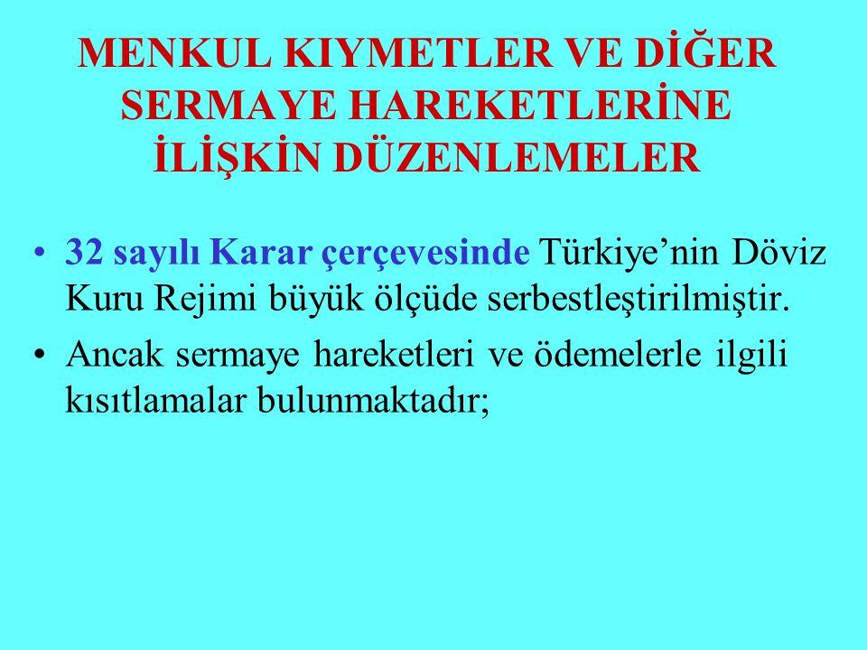MENKUL KIYMETLER VE DİĞER SERMAYE HAREKETLERİNE İLİŞKİN DÜZENLEMELER 32 sayılı Karar çerçevesinde Türkiye'nin Döviz Kuru Rejimi büyük ölçüde serbestle
