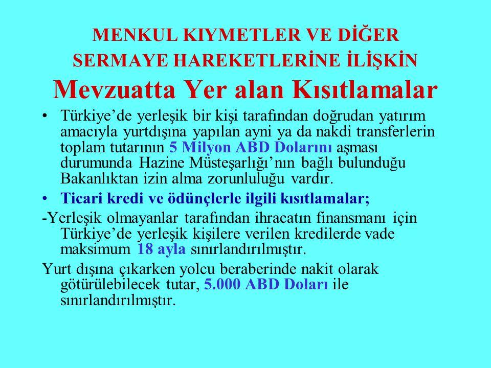 MENKUL KIYMETLER VE DİĞER SERMAYE HAREKETLERİNE İLİŞKİN Mevzuatta Yer alan Kısıtlamalar Türkiye'de yerleşik bir kişi tarafından doğrudan yatırım amacı