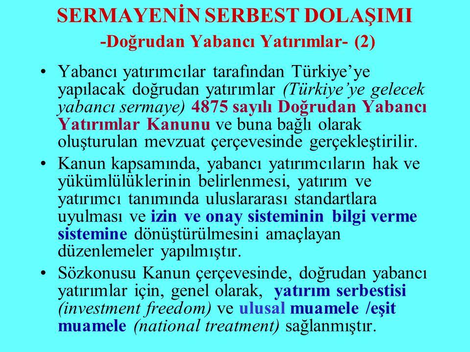 SERMAYENİN SERBEST DOLAŞIMI -Doğrudan Yabancı Yatırımlar- (2) Yabancı yatırımcılar tarafından Türkiye'ye yapılacak doğrudan yatırımlar (Türkiye'ye gel
