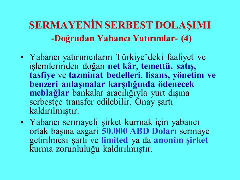 SERMAYENİN SERBEST DOLAŞIMI -Doğrudan Yabancı Yatırımlar- (4) Yabancı yatırımcıların Türkiye'deki faaliyet ve işlemlerinden doğan net kâr, temettü, sa
