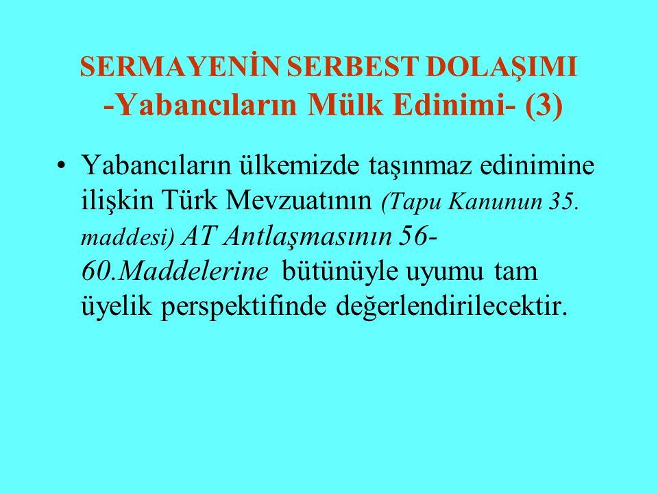 SERMAYENİN SERBEST DOLAŞIMI -Yabancıların Mülk Edinimi- (3) Yabancıların ülkemizde taşınmaz edinimine ilişkin Türk Mevzuatının (Tapu Kanunun 35. madde