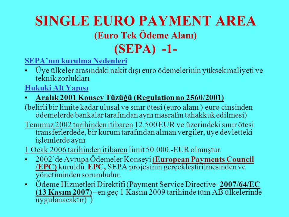 SINGLE EURO PAYMENT AREA (Euro Tek Ödeme Alanı) (SEPA) -1- SEPA'nın kurulma Nedenleri Üye ülkeler arasındaki nakit dışı euro ödemelerinin yüksek maliy
