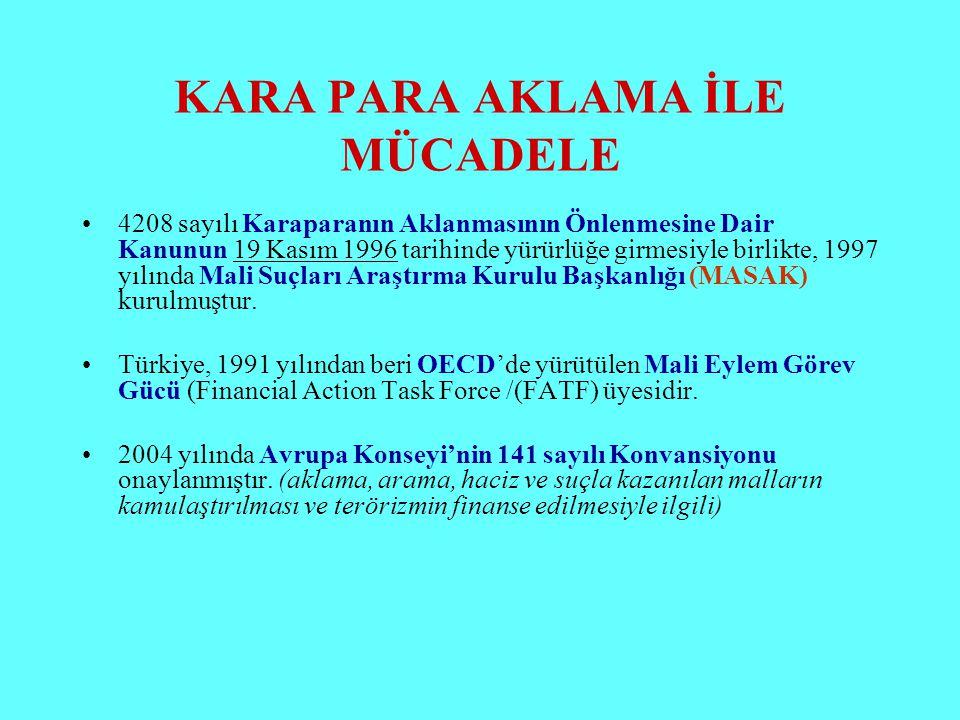 KARA PARA AKLAMA İLE MÜCADELE 4208 sayılı Karaparanın Aklanmasının Önlenmesine Dair Kanunun 19 Kasım 1996 tarihinde yürürlüğe girmesiyle birlikte, 199