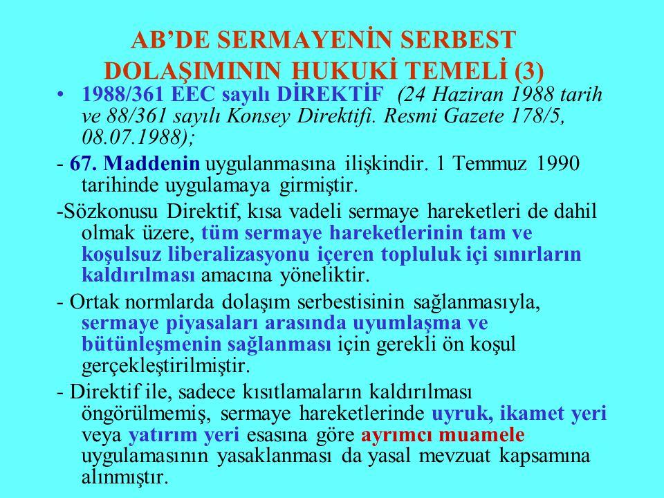 AB'DE SERMAYENİN SERBEST DOLAŞIMININ HUKUKİ TEMELİ (3) 1988/361 EEC sayılı DİREKTİF (24 Haziran 1988 tarih ve 88/361 sayılı Konsey Direktifi. Resmi Ga