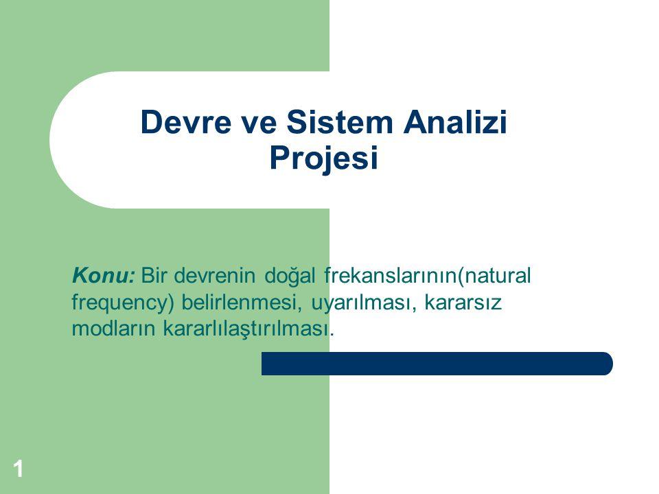 Devre ve Sistem Analizi Projesi Konu: Bir devrenin doğal frekanslarının(natural frequency) belirlenmesi, uyarılması, kararsız modların kararlılaştırıl
