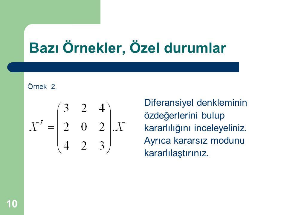 Diferansiyel denkleminin özdeğerlerini bulup kararlılığını inceleyeliniz. Ayrıca kararsız modunu kararlılaştırınız. Örnek 2. 10