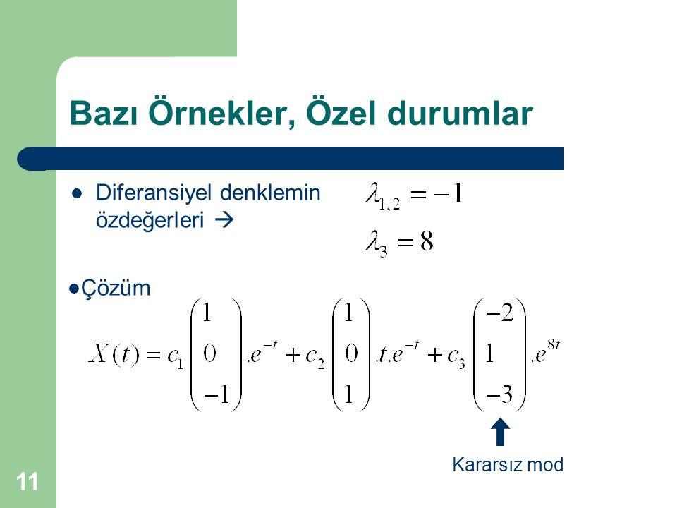 Bazı Örnekler, Özel durumlar Kararsız mod Çözüm Diferansiyel denklemin özdeğerleri  11