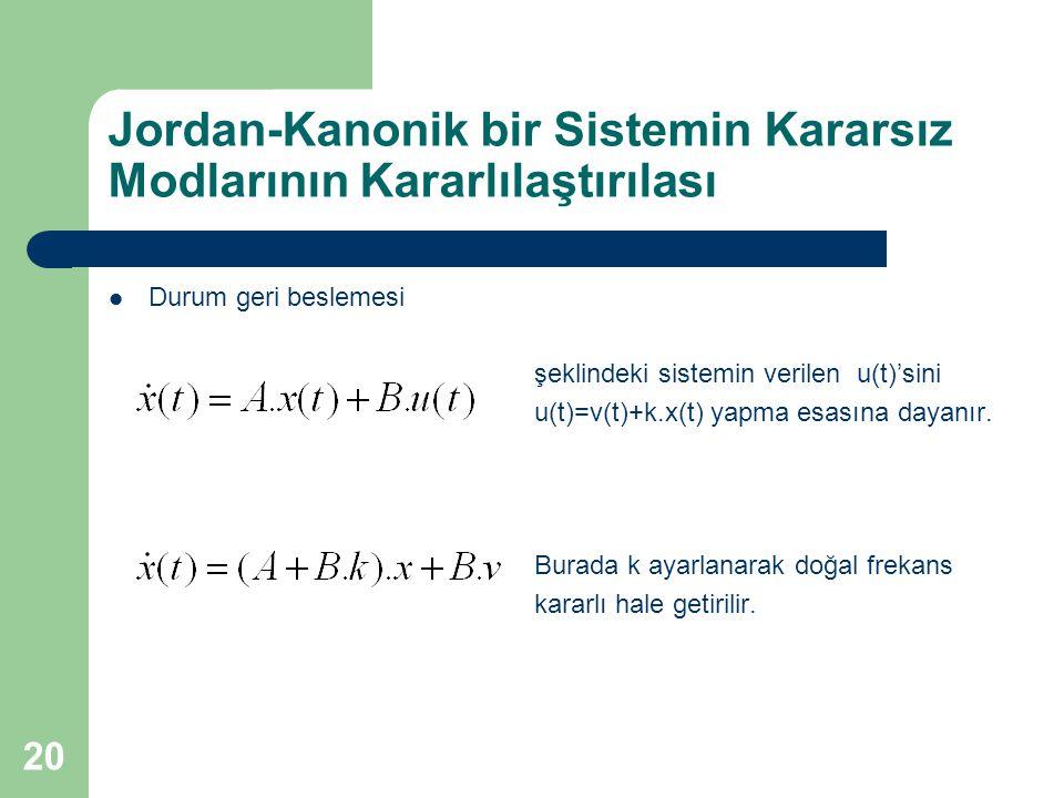 Jordan-Kanonik bir Sistemin Kararsız Modlarının Kararlılaştırılası Durum geri beslemesi şeklindeki sistemin verilen u(t)'sini u(t)=v(t)+k.x(t) yapma e