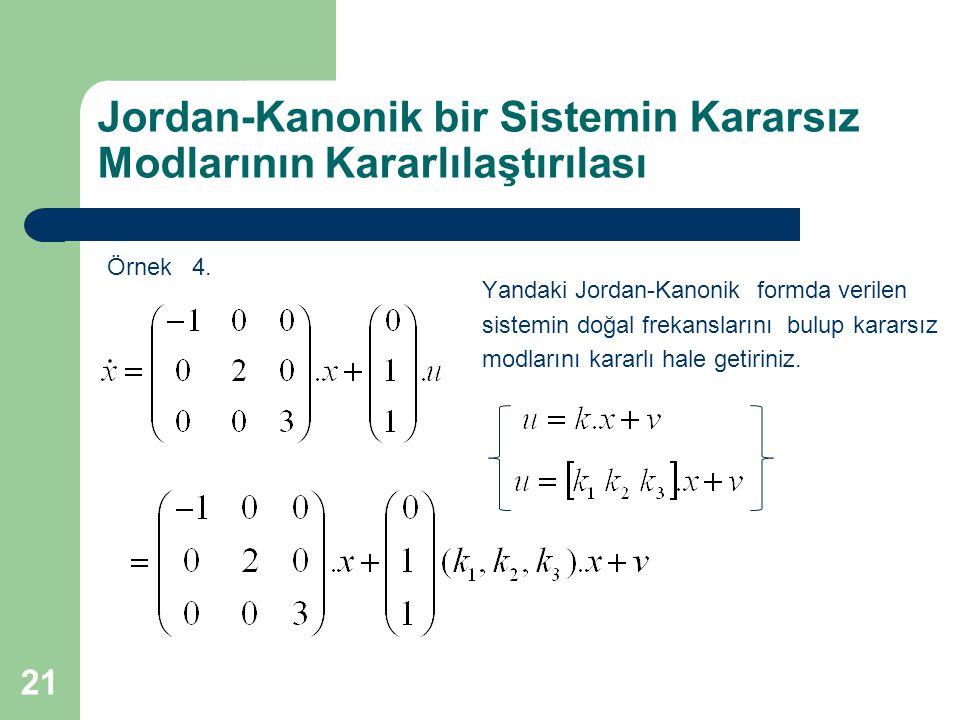 Jordan-Kanonik bir Sistemin Kararsız Modlarının Kararlılaştırılası Örnek 4. 21 Yandaki Jordan-Kanonik formda verilen sistemin doğal frekanslarını bulu
