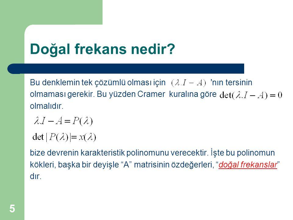 Doğal frekans nedir? Bu denklemin tek çözümlü olması için 'nın tersinin olmaması gerekir. Bu yüzden Cramer kuralına göre olmalıdır. bize devrenin kara