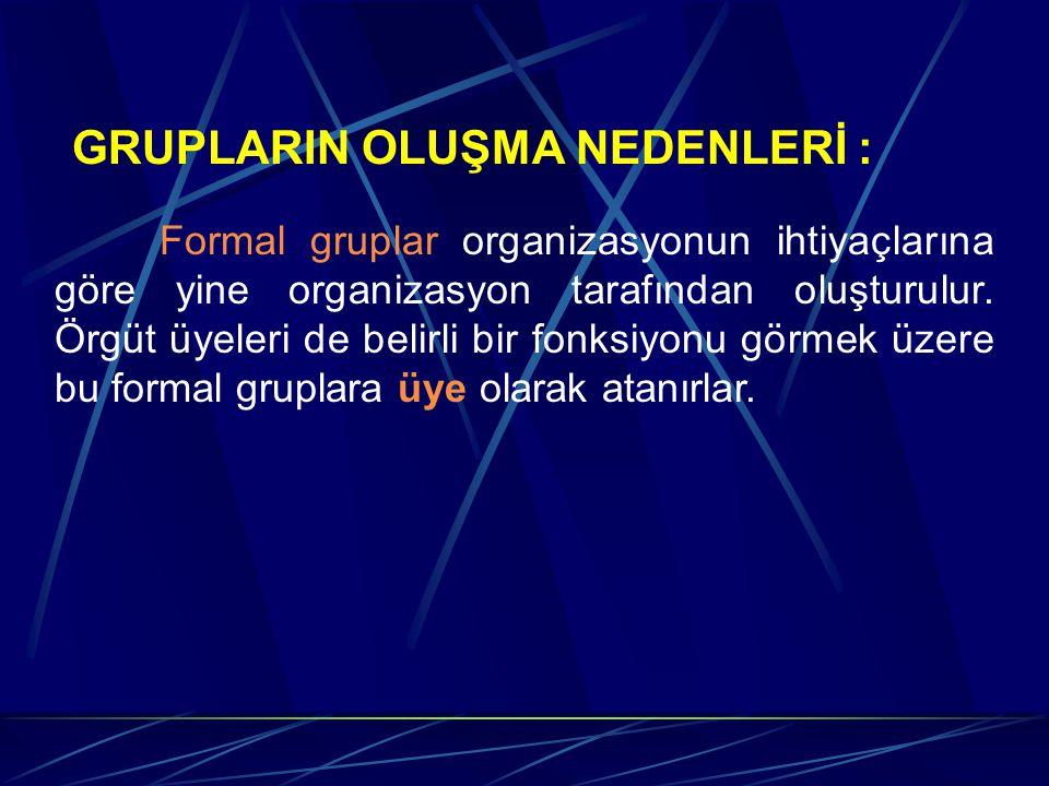 GRUPLARIN OLUŞMA NEDENLERİ : Formal gruplar organizasyonun ihtiyaçlarına göre yine organizasyon tarafından oluşturulur. Örgüt üyeleri de belirli bir f