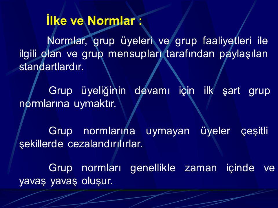 İlke ve Normlar : Normlar, grup üyeleri ve grup faaliyetleri ile ilgili olan ve grup mensupları tarafından paylaşılan standartlardır. Grup üyeliğinin