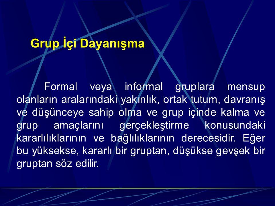 Grup İçi Dayanışma Formal veya informal gruplara mensup olanların aralarındaki yakınlık, ortak tutum, davranış ve düşünceye sahip olma ve grup içinde