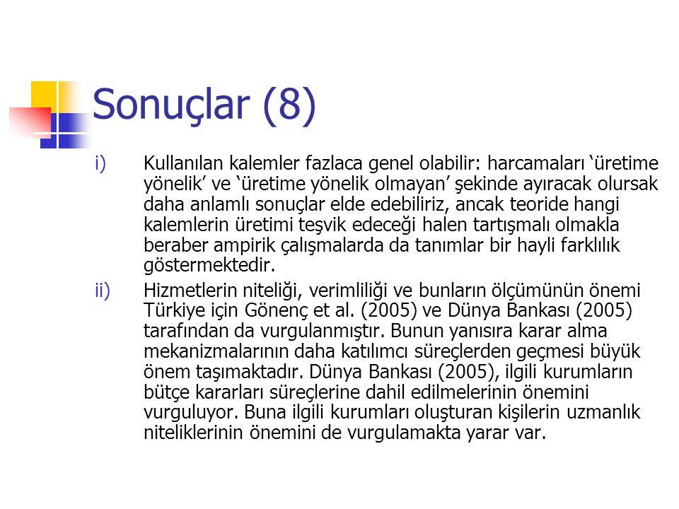 Sonuçlar (7) Not: Türkiye'nin büyüme oranını nüfus artışına göre düzenleyecek olursak daha düşük çıkacaktır.