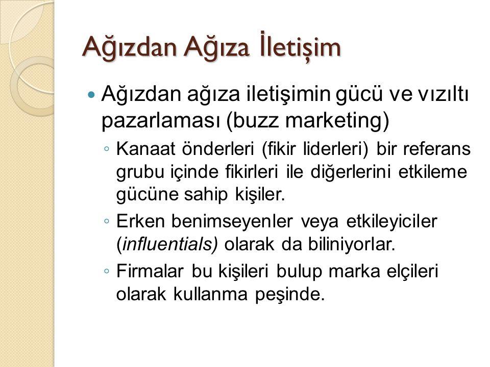 A ğ ızdan A ğ ıza İ letişim Ağızdan ağıza iletişimin gücü ve vızıltı pazarlaması (buzz marketing) ◦ Kanaat önderleri (fikir liderleri) bir referans gr