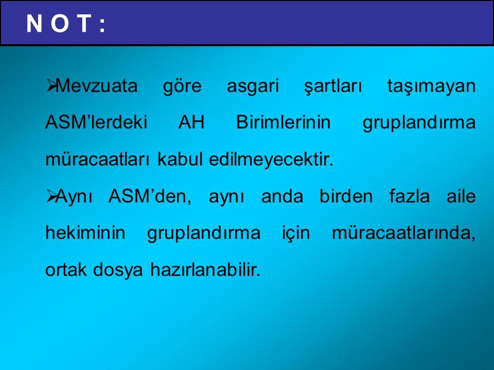 AHB Gruplandırma Başvuru Dosya İçeriği A GRUBU İÇİN (B, C ve D Grubu Belgelerine Ek Olarak) : 16)Hekimin Ultrasonografi ile ilgili eğitim belgesi, 17)Her aile hekimi için ilave çalıştırılan bir ebe, hemşire, sağlık memuru (toplum sağlığı) veya tıbbi sekreterin; a)Sosyal güvenlik kuruluşuna giriş belgesi, b)Sigorta primlerinin yatırıldığına dair belgeler, c)Hizmet satın alma yöntemi ile alınıyor ise fatura, d)Mesleğinin icrasına yönelik mezuniyet belge örnekleri, e)Çalışma çizelgesi,