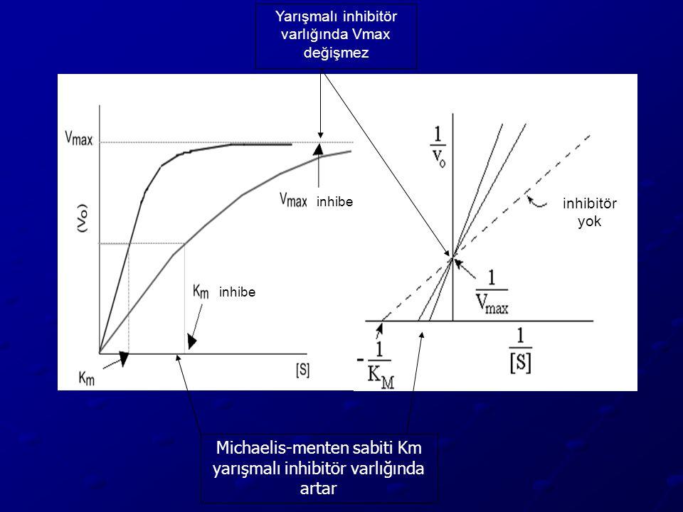 inhibe Yarışmalı inhibitör varlığında Vmax değişmez inhibitör yok Michaelis-menten sabiti Km yarışmalı inhibitör varlığında artar