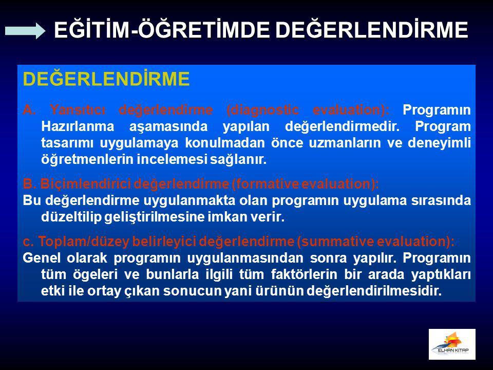 DEĞERLENDİRME A. Yansıtıcı değerlendirme (diagnostic evaluation): Programın Hazırlanma aşamasında yapılan değerlendirmedir. Program tasarımı uygulamay