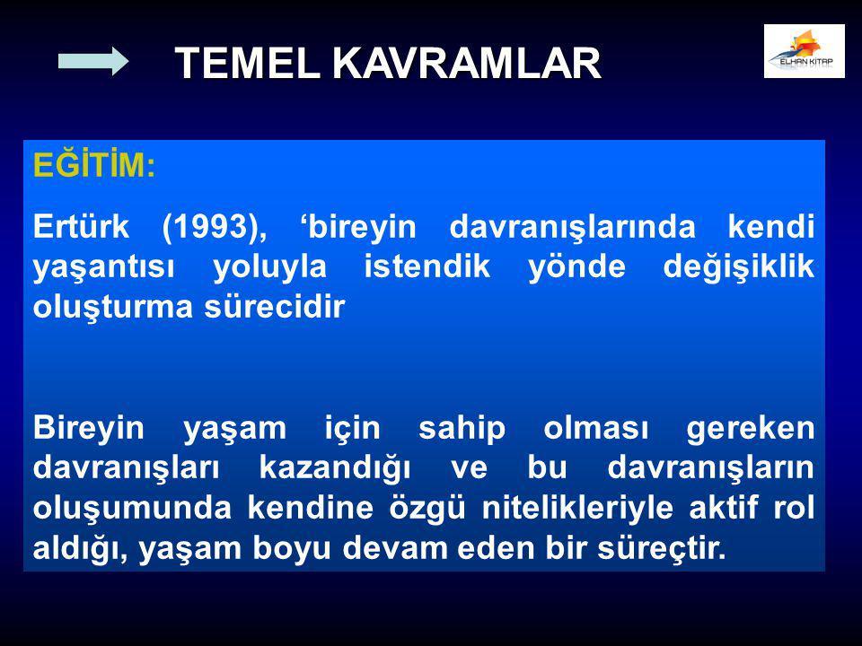 EĞİTİM: Ertürk (1993), 'bireyin davranışlarında kendi yaşantısı yoluyla istendik yönde değişiklik oluşturma sürecidir Bireyin yaşam için sahip olması