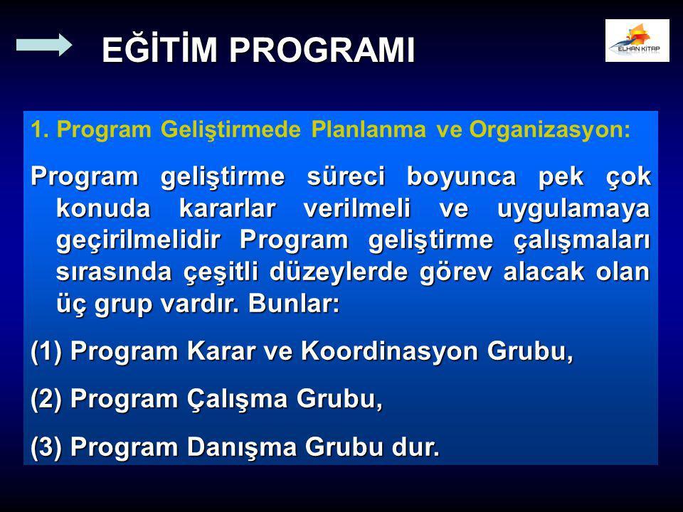 1. Program Geliştirmede Planlanma ve Organizasyon: Program geliştirme süreci boyunca pek çok konuda kararlar verilmeli ve uygulamaya geçirilmelidir Pr