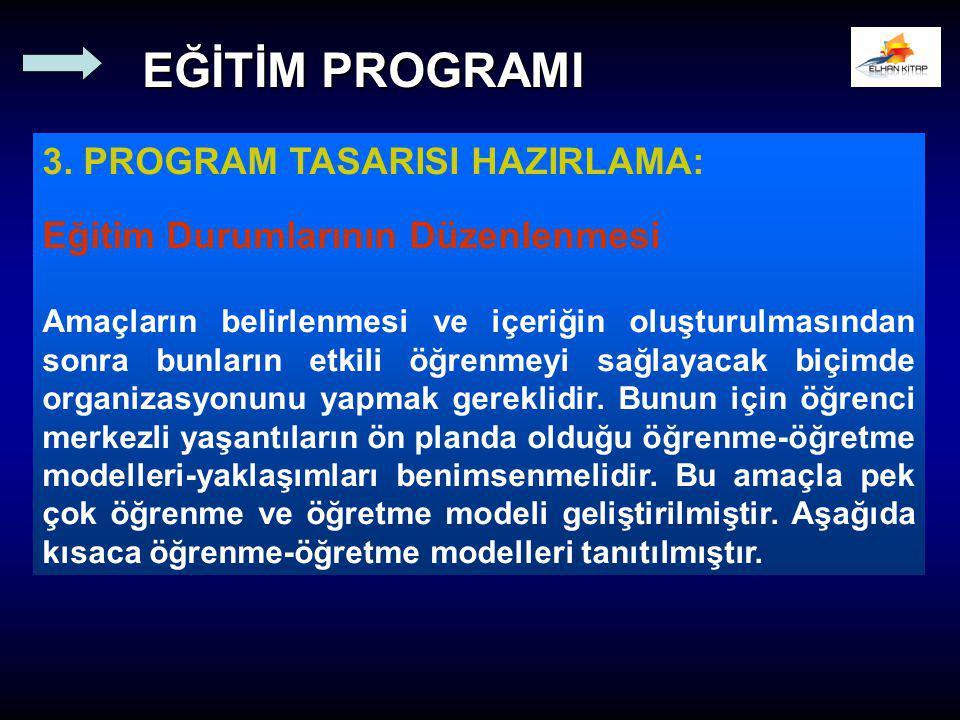 3. PROGRAM TASARISI HAZIRLAMA: Eğitim Durumlarının Düzenlenmesi Amaçların belirlenmesi ve içeriğin oluşturulmasından sonra bunların etkili öğrenmeyi s