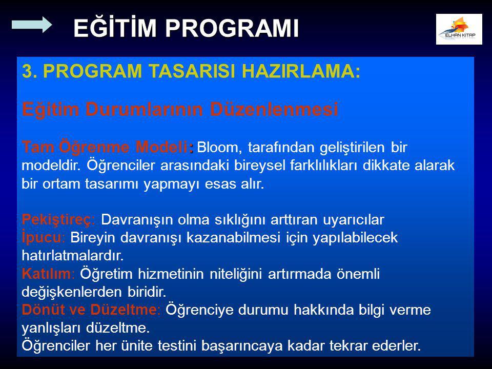 3. PROGRAM TASARISI HAZIRLAMA: Eğitim Durumlarının Düzenlenmesi : Tam Öğrenme Modeli: Bloom, tarafından geliştirilen bir modeldir. Öğrenciler arasında