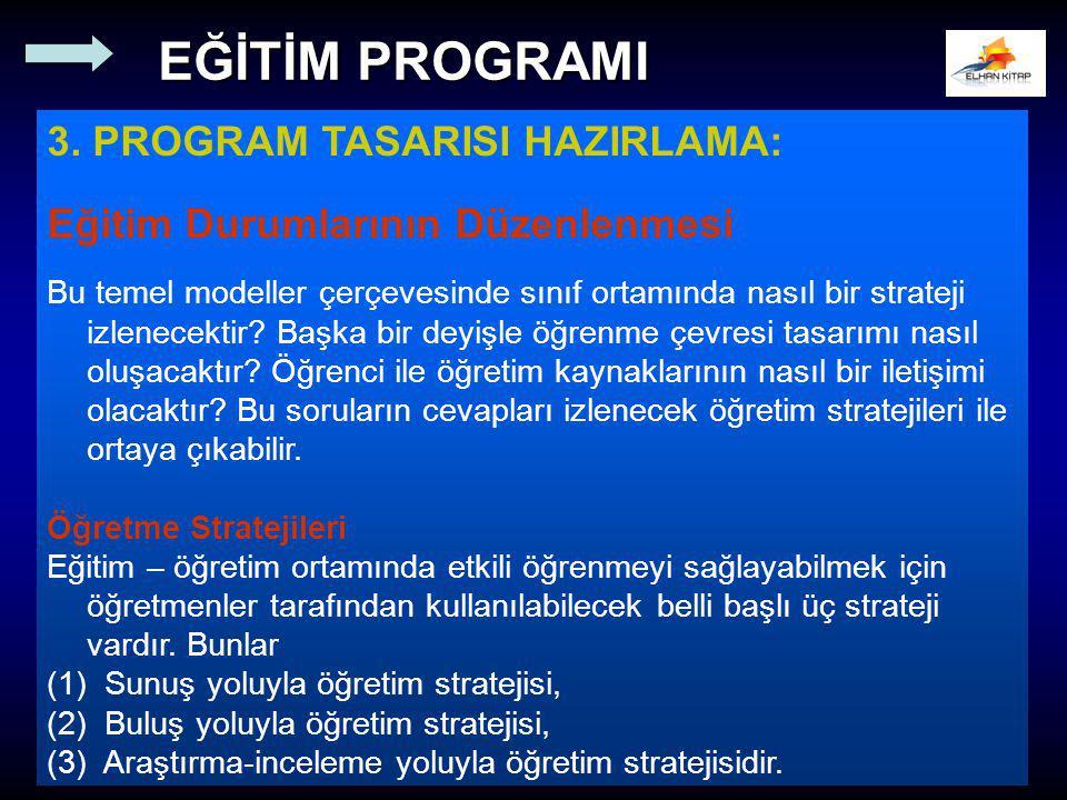 3. PROGRAM TASARISI HAZIRLAMA: Eğitim Durumlarının Düzenlenmesi Bu temel modeller çerçevesinde sınıf ortamında nasıl bir strateji izlenecektir? Başka