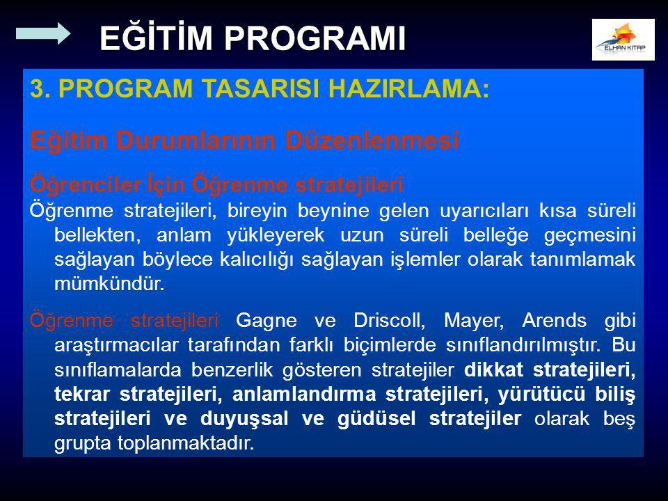 3. PROGRAM TASARISI HAZIRLAMA: Eğitim Durumlarının Düzenlenmesi Öğrenciler İçin Öğrenme stratejileri Öğrenme stratejileri, bireyin beynine gelen uyarı