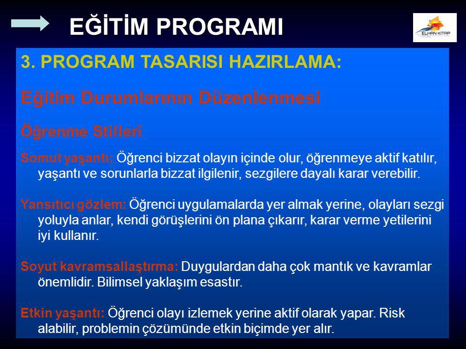 3. PROGRAM TASARISI HAZIRLAMA: Eğitim Durumlarının Düzenlenmesi Öğrenme Stilleri Somut yaşantı; Öğrenci bizzat olayın içinde olur, öğrenmeye aktif kat