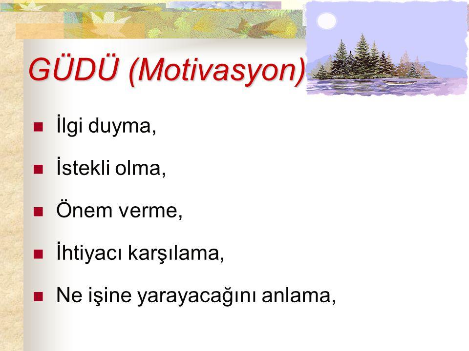 GÜDÜ (Motivasyon) GÜDÜ (Motivasyon) İlgi duyma, İstekli olma, Önem verme, İhtiyacı karşılama, Ne işine yarayacağını anlama,