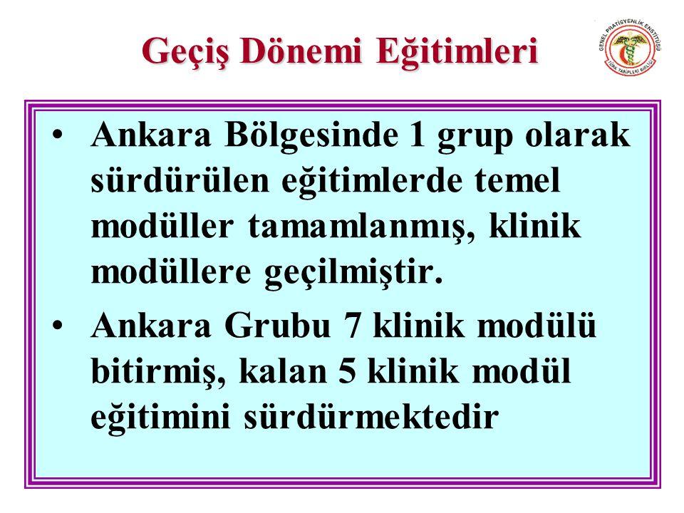 Geçiş Dönemi Eğitimleri Ankara Bölgesinde 1 grup olarak sürdürülen eğitimlerde temel modüller tamamlanmış, klinik modüllere geçilmiştir.