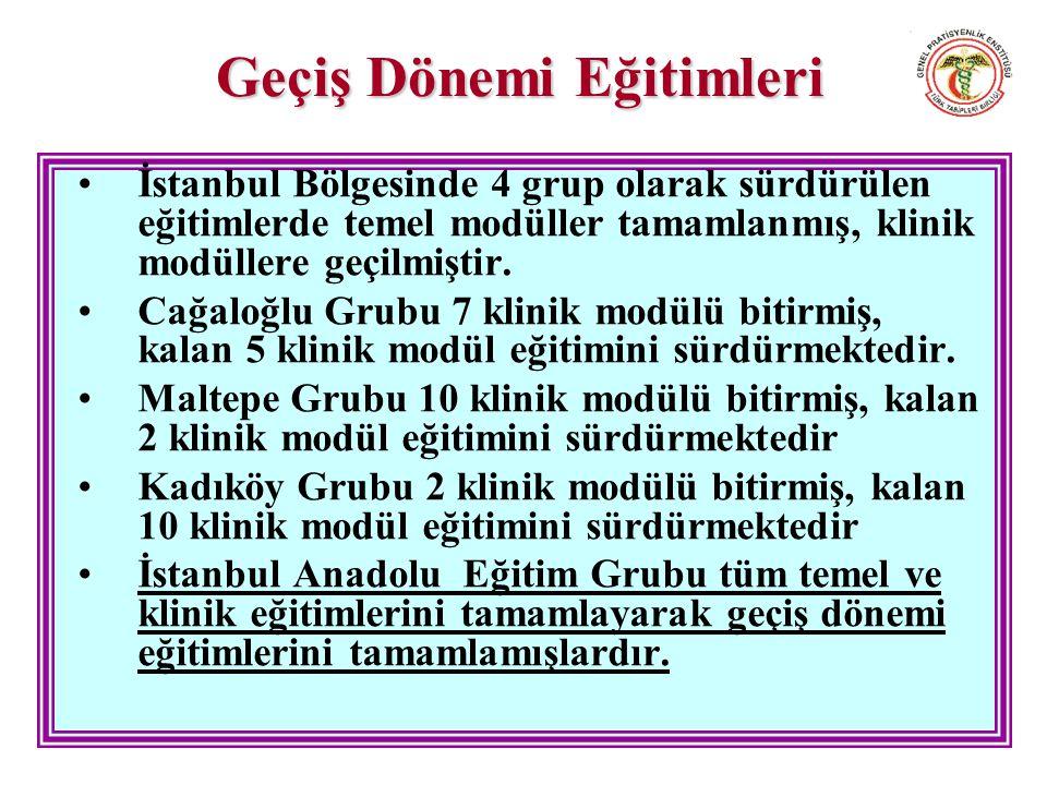 Geçiş Dönemi Eğitimleri İstanbul Bölgesinde 4 grup olarak sürdürülen eğitimlerde temel modüller tamamlanmış, klinik modüllere geçilmiştir.