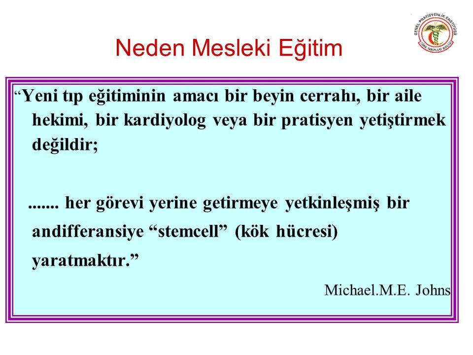 Neden Mesleki Eğitim Yeni tıp eğitiminin amacı bir beyin cerrahı, bir aile hekimi, bir kardiyolog veya bir pratisyen yetiştirmek değildir;.......