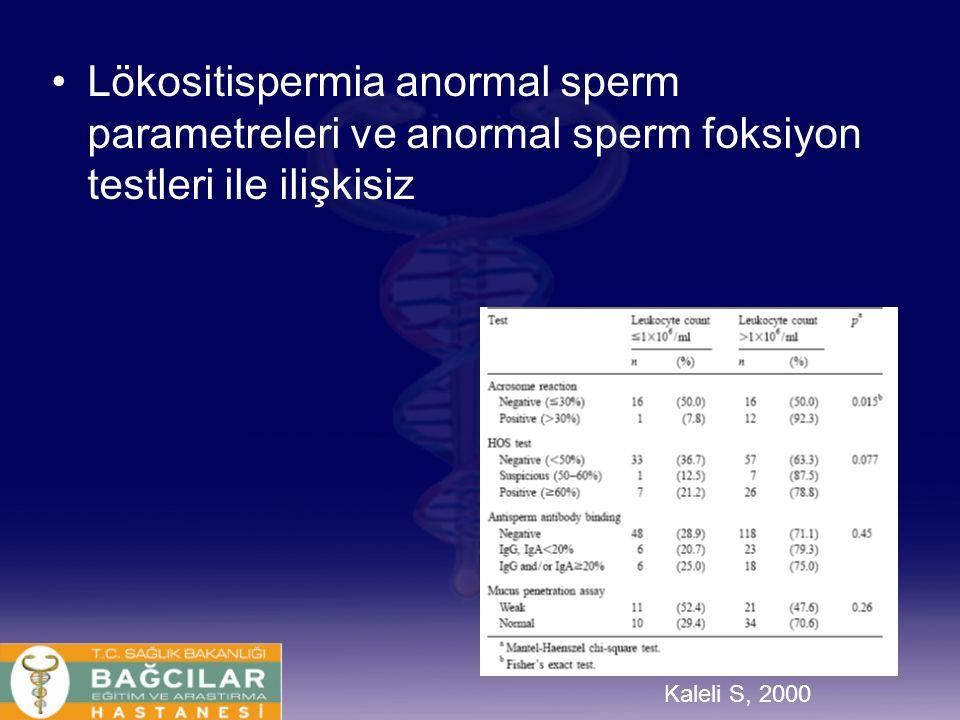 Kaleli S, 2000 Lökositispermia anormal sperm parametreleri ve anormal sperm foksiyon testleri ile ilişkisiz