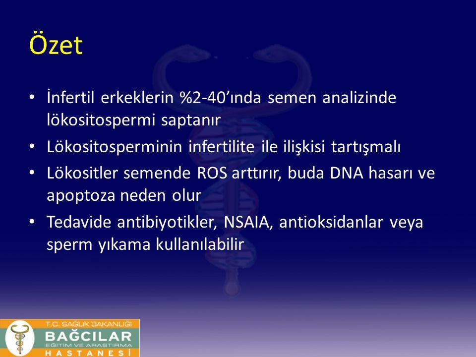 Özet İnfertil erkeklerin %2-40'ında semen analizinde lökositospermi saptanır Lökositosperminin infertilite ile ilişkisi tartışmalı Lökositler semende